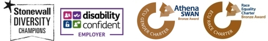 Stonewall, Disability Confident Employer, Athena Swan Bronze, Race Equality Charter Bronze